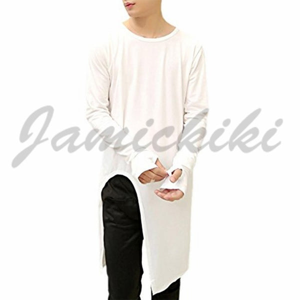 Men's Fashion Sweatshirts Broken Tee O-Neck Long Sleeve West Swag Casual Extended Hoodies, T shirt for men, T-shirts, Pullovers