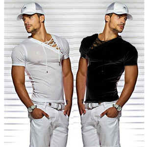 Men's Sexy V-neck Bandages Short Sleeve Pure Color Slim Fit Sheer Casual Cotton T-shirt