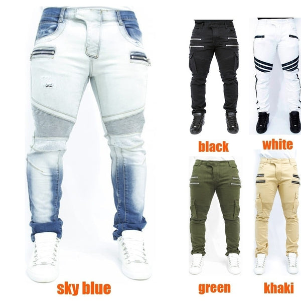 Mens Casual Jeans Vintage Hole Denim Pants
