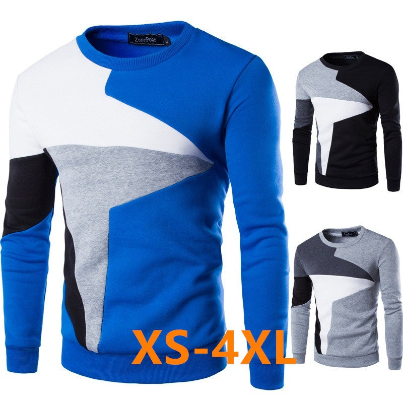 Spring New Men's Casual Long-sleeved Wind Hit The Color Stitching Hedging Sweater