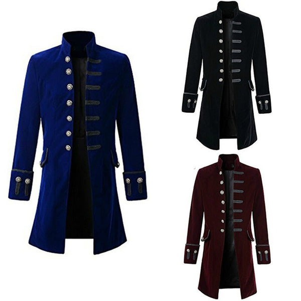 Men's Coat Fashion Steampunk Vintage Tailcoat Jacket Gothic Victorian Frock Coat Men's Uniform Costume