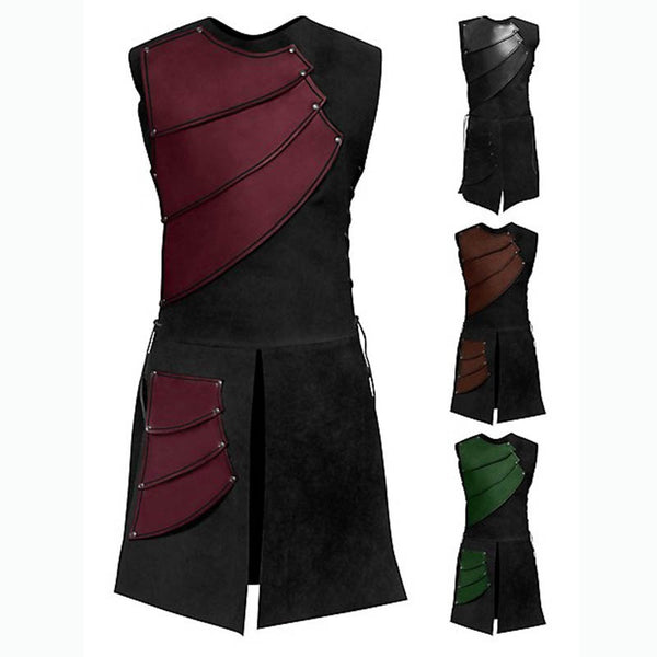 Vintage Men's Medieval Shirt Vest Laced Up Pirate Renaissance Sleeveless Landlord Knight Top Patchwork  Cosplay Custome