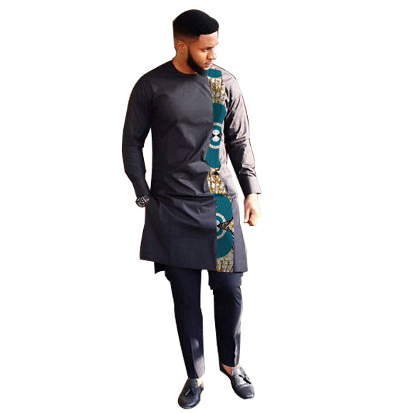 Fashion African Print Clothing Men Tops+Trousers Set Shirts And Pants Sets Festive Costume Africa Style Men Clothes Customized