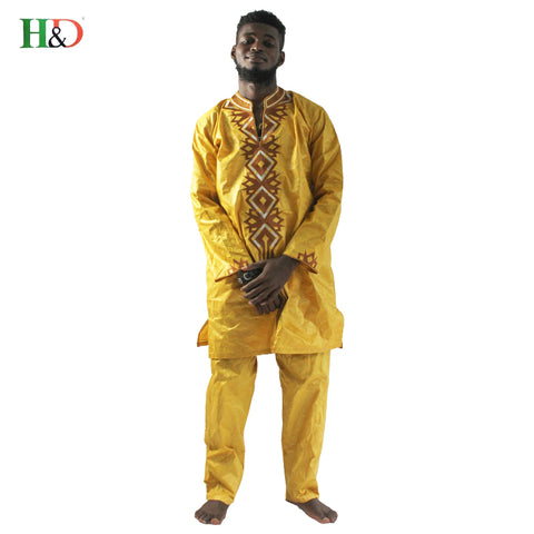 Free shipping Fashion African Men Clothing Bazin Traditional Classic Riche Embroidery Dashiki With Trouser Five Colors plus Size