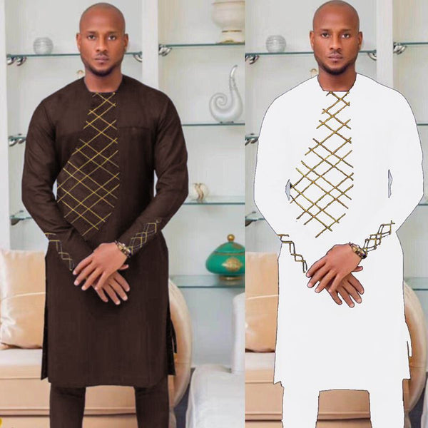 H&D 2018 spring summer african clothes africa men dashiki clothing male mens top pant outfit suits two 2 piece set embroidery