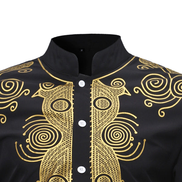 H&D African clothing African Dashiki Traditional Maxi Man African Stand Collar Long Sleeved Long Sleeves Shirt Plus size D18539