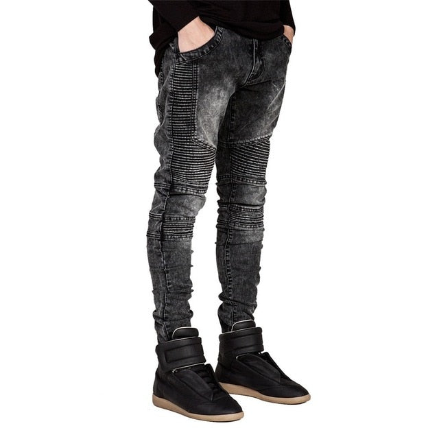 Men Jeans Runway Slim Racer Biker Jeans Fashion Hiphop Skinny Jeans For Men H0292