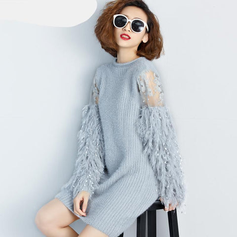 Long Sleeves Knitted Sweaters Dress