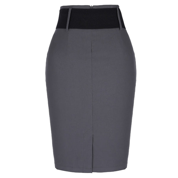 High Waist Elastic Skirt With Belt