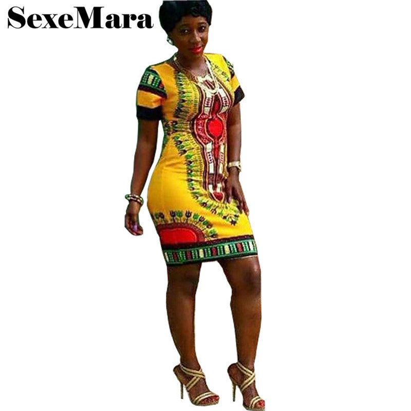 39bd1f97b30f 2017 Summer Dress Women Plus Size African Dresses For Women Dashiki Short  Sleeve Print Mini Sheath ...