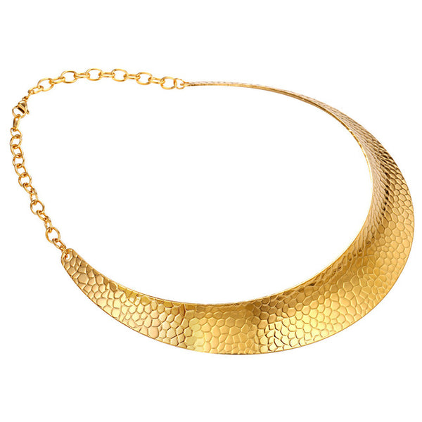 U7 Stainless Steel Collier Necklace For Women Collar Jewelry  Gold Color African Chunky Chokers Necklace Wholesale N554