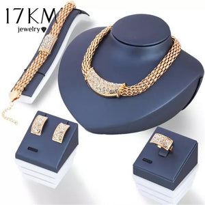 17KM 2017 Vintage Flower Crystal Jewelry Sets African Bead Beads Statement Necklace/Earrings/Ring/Bracelet Women Wedding Jewelry