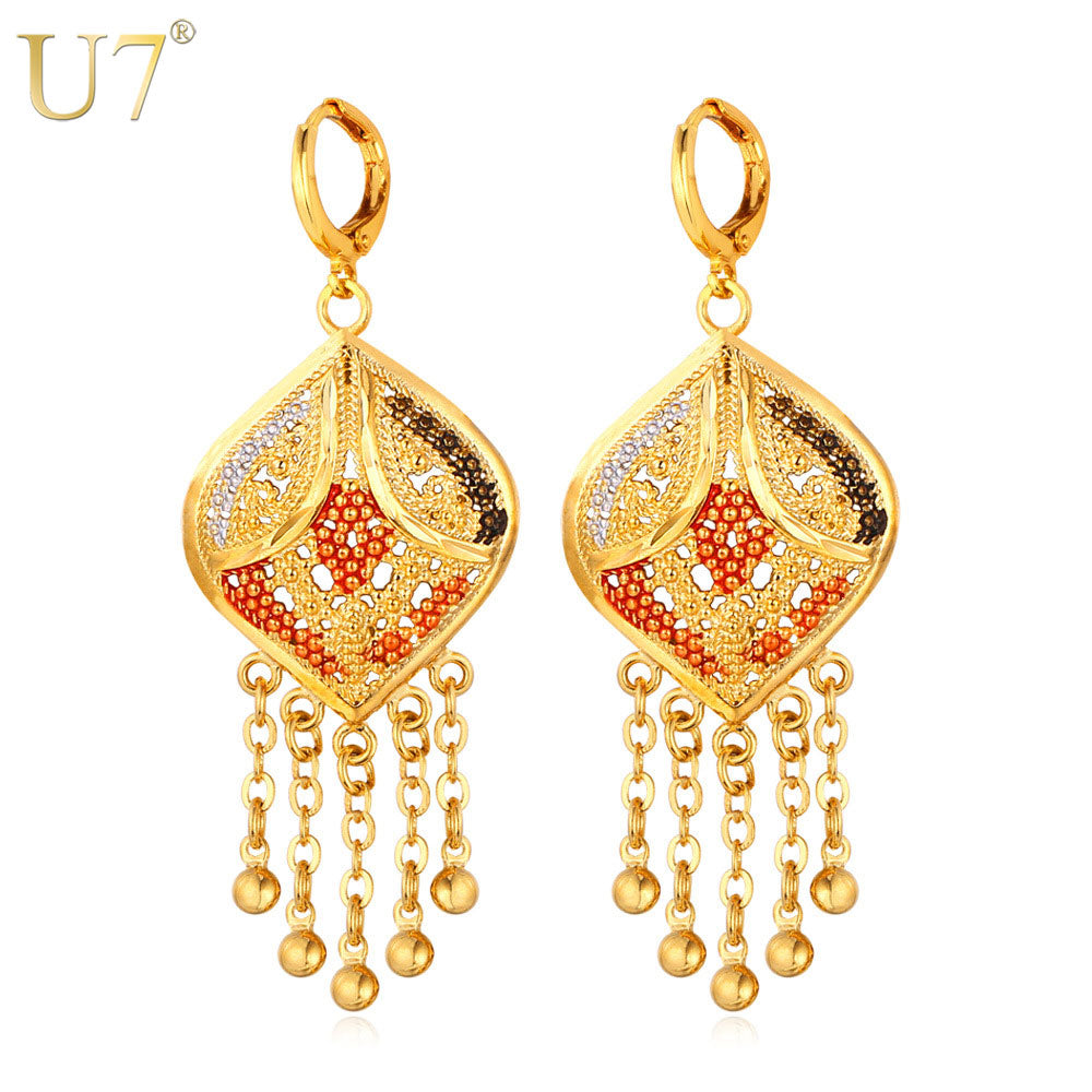 U7 Tassels Long Drop Earrings For Women Jewelry Trendy Gold Color Long Dangle Beads Earrings African Jewelry E646