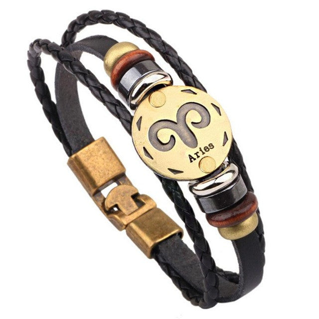 Twelve constellations bracelet  Bracelet Fashion Jewelry Leather Bracelet Personality Bracelet wristband