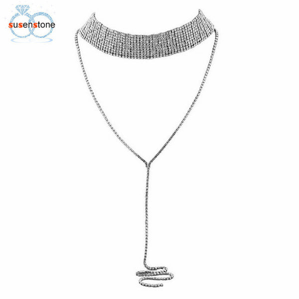 SUSENSTONE Women Tassel Multilayer Full Crystal Rhinestone Necklace Elegant Chain