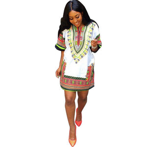 White Print  Traditional African Summer Dress   Straight Print Above Knee National wind Dresses