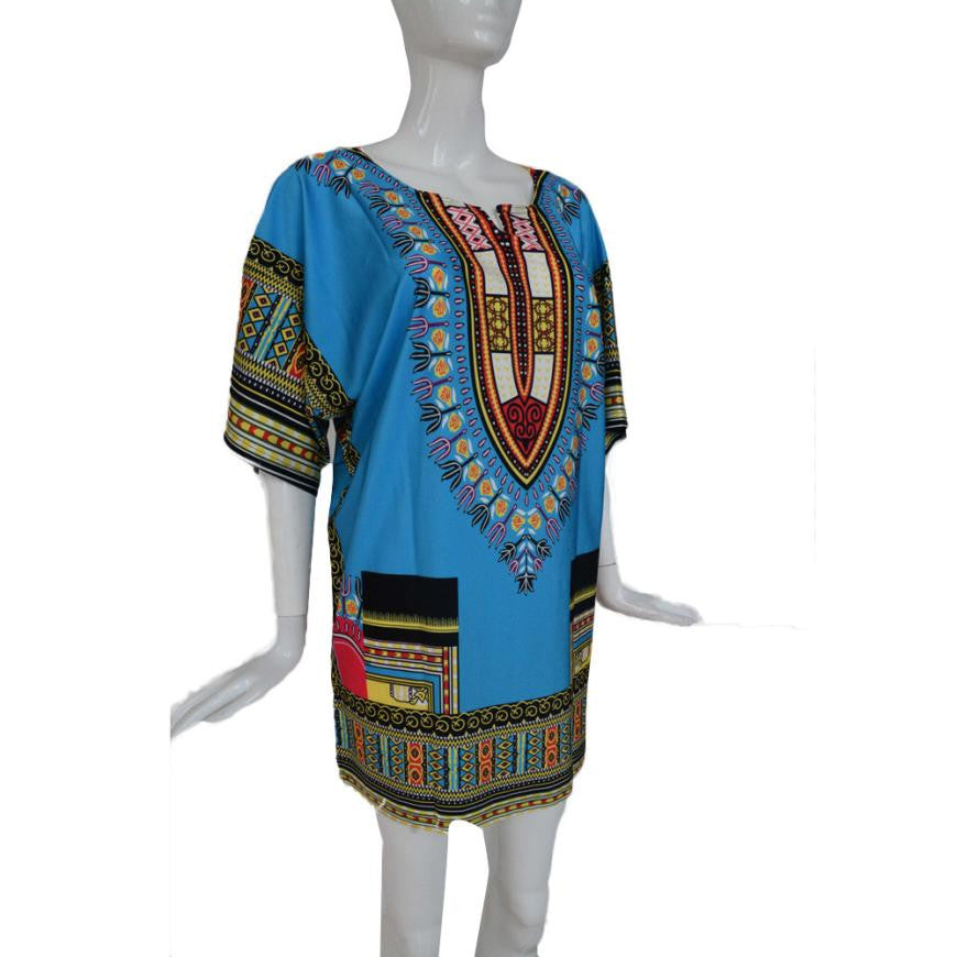 New Summer Dress for Women Traditional African Print   Dress Straight Print Above Knee Dresses