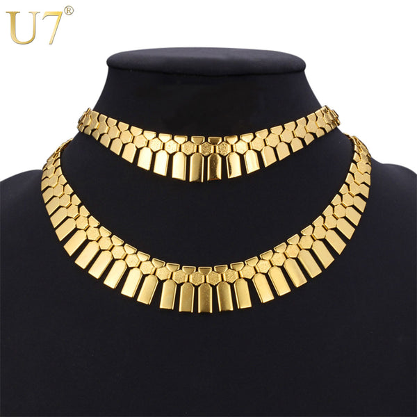 U7 Fashion Hip Hop Dubai Gold Color African Jewelry Set Women Trendy Tassels Egyptian Bracelet Necklace Set Wedding Bijoux S461