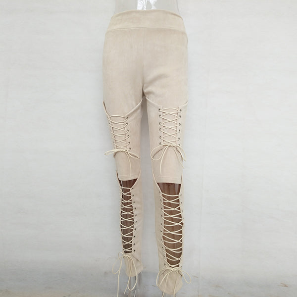 Lace Up Suede Leather Pants