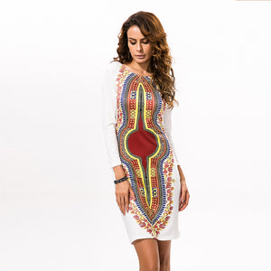 Dashiki Dress 2017 Autumn Long Sleeve Vintage Traditional African Dresses for Women Print Bodycon Sexy Slit Dress Plus Size 3XL
