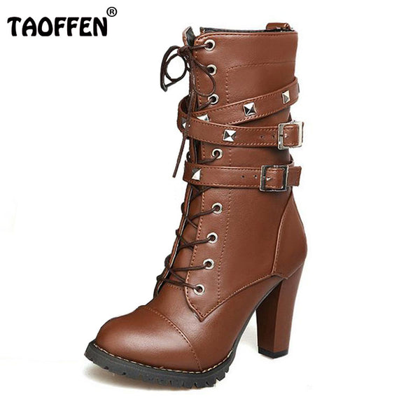 TAOFFEN Ladies shoes Women boots High heels Platform Buckle Zipper Rivets Sapatos femininos Lace up Leather boots Size 34-43