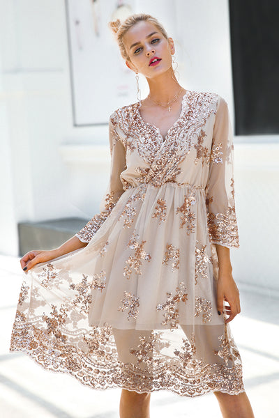V Neck Long Sleeve Sequin Dress