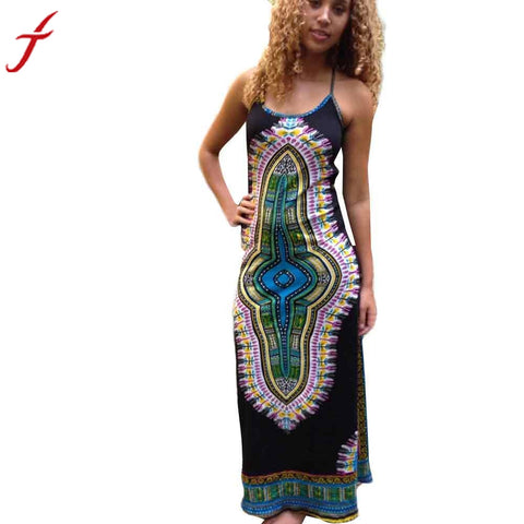 Women African Printing Sleeveless Long Harness Dress For Fashion Womens Ladies Slim Dresses