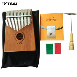 Wood Color 17 Keys Kalimba Thumb Piano Acacia Wood Instrument Traditional African Music Instruments with 17 Tone