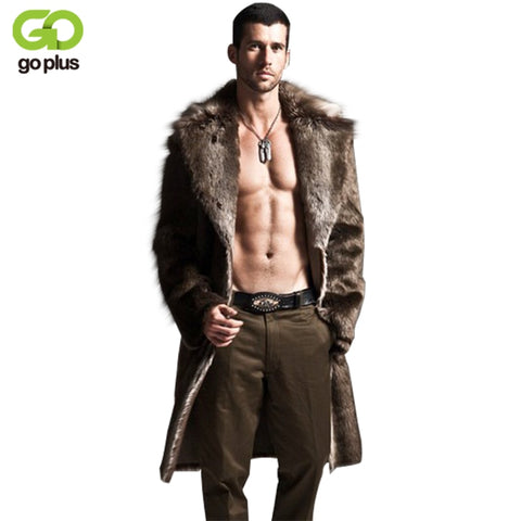 GOPLUS 2018 Winter Men Coat Faux Mink Fur Coats Thick Fur Long Overcoat Fashion Turn Down Collar Fur Outerwear Jacket C4428