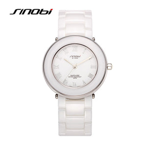 SINOBI top brand luxury ceramic quartz ladies watch