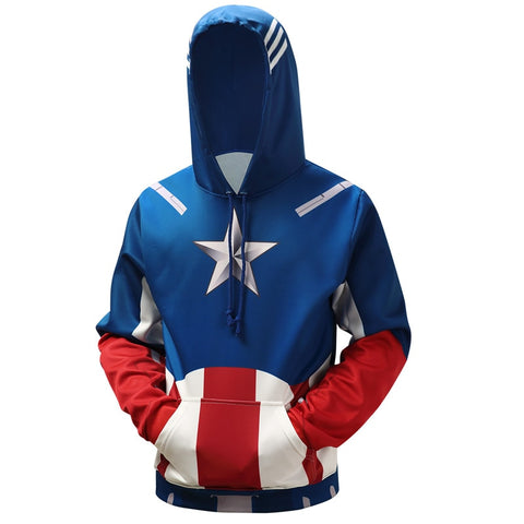 2018 New Marvel Super hero Captain America Spiderman Hoodies 3D Printing Fashion Casual Men's hoodie sweatshirt S-6XL