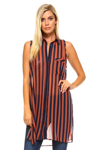 Women's Long Sheer Sleeveless Stripe Blouse