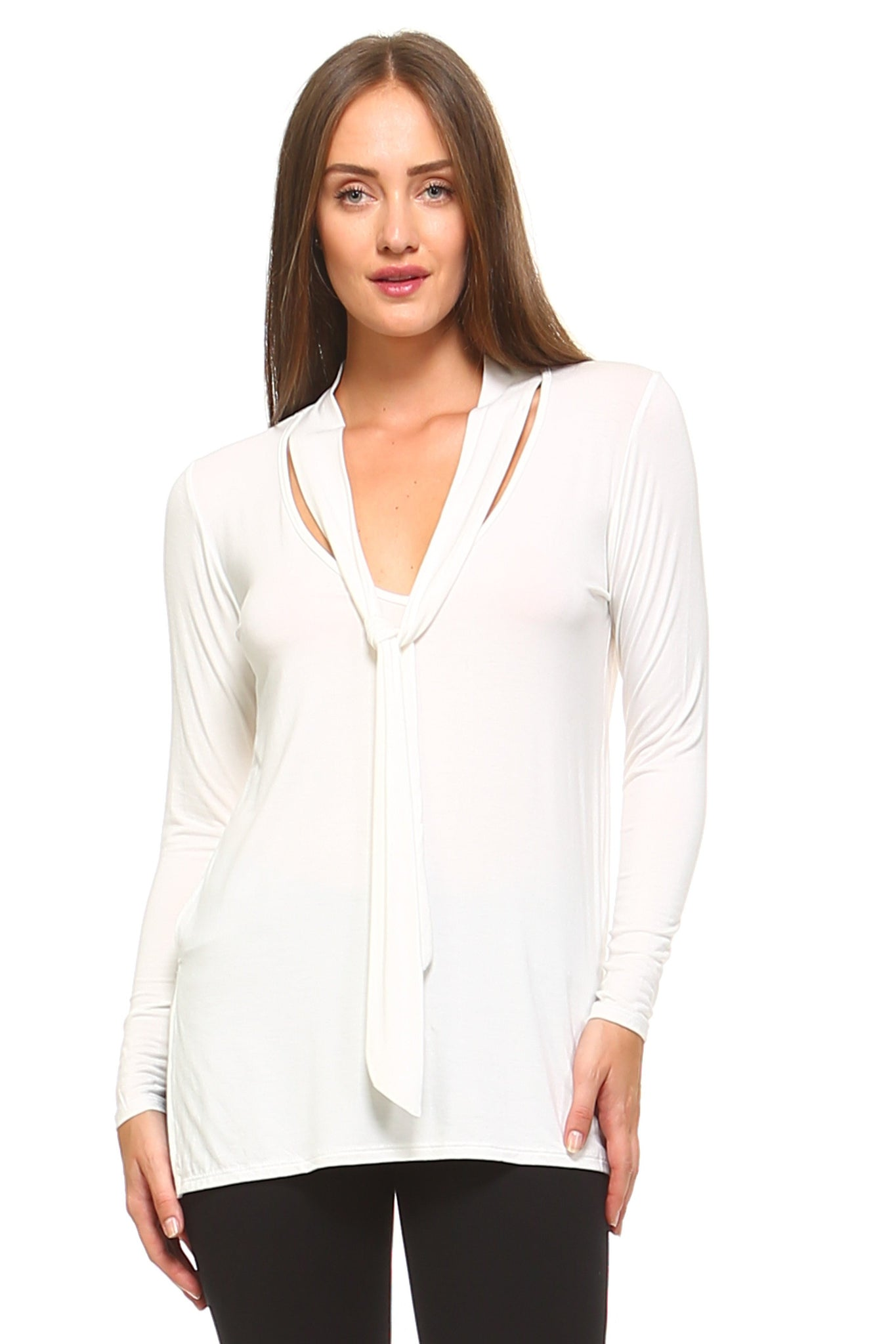 Women's Long Sleeve V-Neck Tie Top