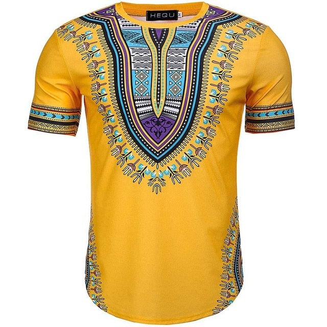 2018 Summer African Print Men Dashiki Tee Shirt Round Neck Yellow Colorful Short Sleeve pullover  Festival Outfit For Adult Men