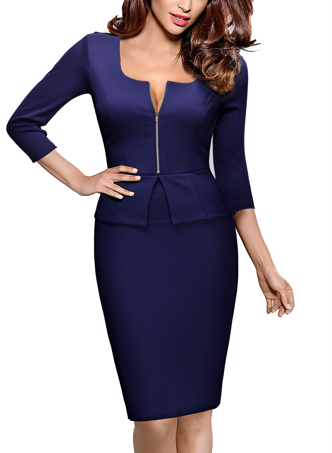 Square Neck Busniess Peplum Fitted Casual Bodycon Dress