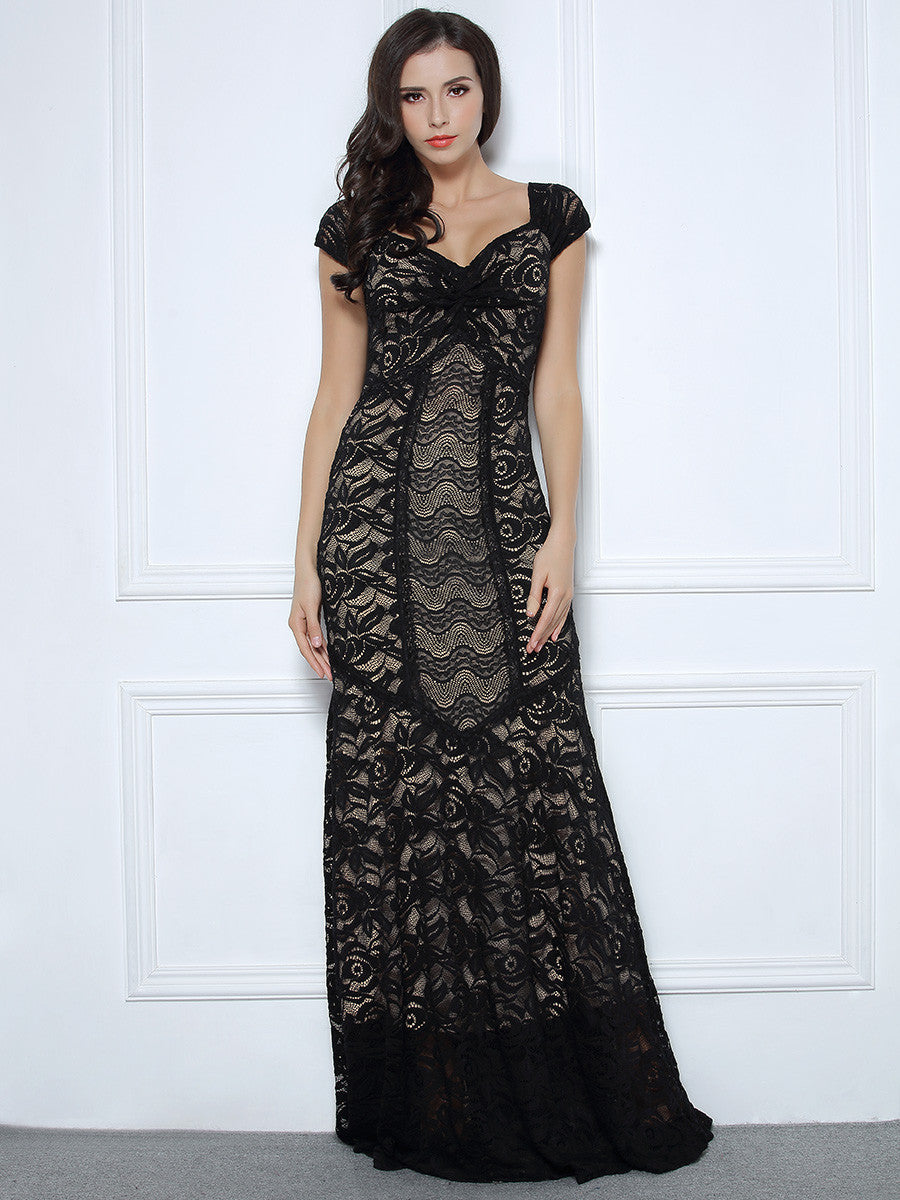 1920's Style Floral Lace Wedding Party Maxi Dress
