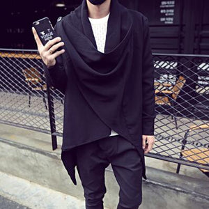 Spring autumn men thin long trench coat gothic cloak nightclub singer stage costume mens irregular hip hop jackets cardigan