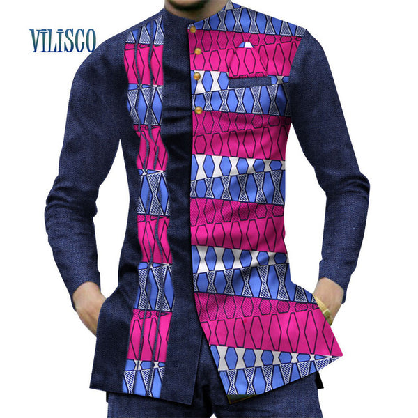 2018 Casual 100% Cotton Mens African Clothing Dashiki Patchwork Print Shirt Tops Bazin Riche Traditional African Clothing WYN380