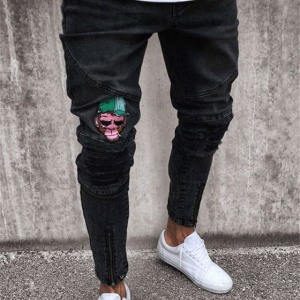 Fashion Men Casual Slim pants 2018 Men brand embroidery jeans Straight High Stretch Feet skinny jeans men's black trousers homme