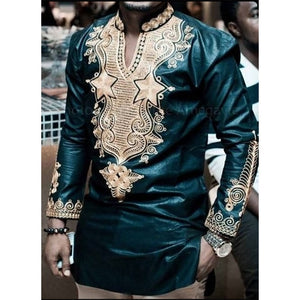 New 2018 Fashion African Men's T-shirt Rich Bazin Print Tops Shirt Dress Long Sleeve for African Dresses Man Casual Clothes