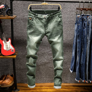 2018 New Fashion Boutique Stretch Casual Mens Jeans / Skinny Jeans Men Straight Mens Denim Jeans / Male Stretch Trouser Pants