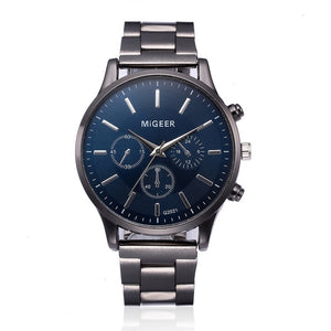 Chronograph man watch 2018 Stainless Steel New Fashion Simple men watches waterproof Mens Blue Watches Quartz reloj hombre 2018