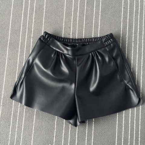 Elastic Waist PU leather Short