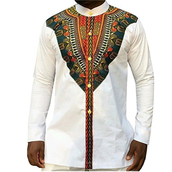 2018 Fashion Men's African Clothes Rich Bazin White Personalized Print Long Sleeve Shirt Kenya Nigeria South Africa Clothing