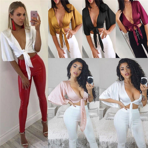 2018 Fashion Womens Ladies Satin Silk Tie Knot Front Flared Sleeve Blouse Sexy Low Cup Plunge Neck Solid color Crop Top Clubwear