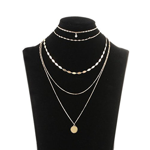 Amazing Gold Coin Layered Necklace Set