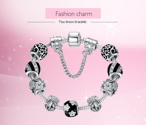Silver Crystal Beads Charms Bracelet