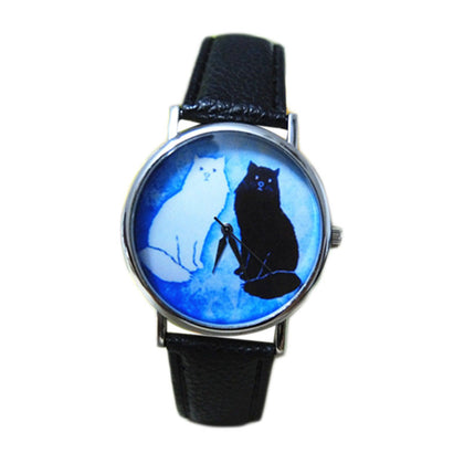 Cat Pattern Leather Band Analog Quartz Vogue Wrist Watch