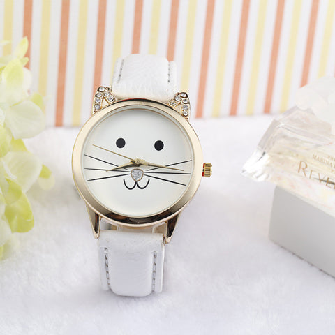 Fashion Neutral Diamond Lovely Cats Face Faux Leather Quartz Watch