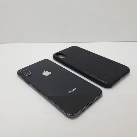 Stylish Ultra-thin Rugged Black Leather iPhone Case